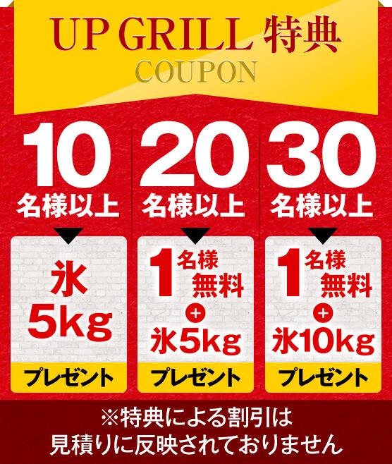 大阪西中島のバーベキューレンタル店アップグリルのお花見フリープランの特典