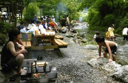 アメリカキャンプ村でバーベキュー