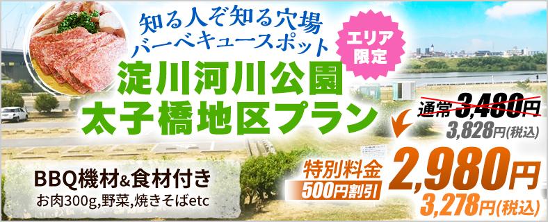 淀川河川公園太子橋BBQ場【2021年更新】の限定レンタルプラン1SP